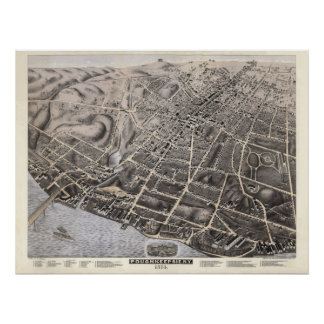 1874 Poughkeepsie, NY Birds Eye View Panoramic Map Poster