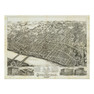 1875 Springfield, MA Birds Eye View Panoramic Map Poster