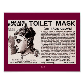 1875 Vintage Beauty Aid: Toilet Mask or Face Glove Poster