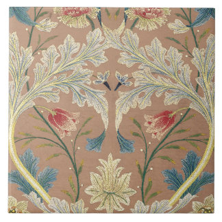 1875 Vintage William Morris Floral Embroidery Ceramic Tile