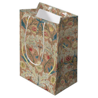 1875 Vintage William Morris Floral Embroidery Medium Gift Bag