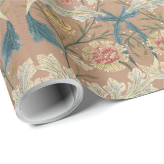 1875 Vintage William Morris Floral Embroidery Wrapping Paper