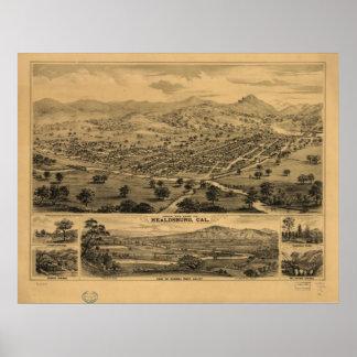1876 Healdsburg Sonoma CA Birds Eye Panoramic Map Poster