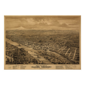 1876 Salem, OR Birds Eye View Panoramic Map Poster
