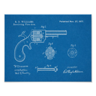 1877 Gun Revolver Patent Art Drawing Print