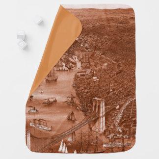 1879 Vintage Brooklyn Map Baby Blanket in Orange