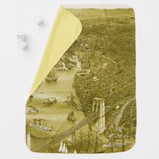 1879 Vintage Brooklyn Map Baby Blanket in Yellow