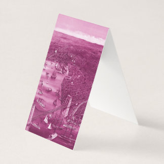1879 Vintage Brooklyn Map Business Cards in Pink