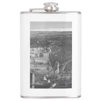 1879 Vintage Brooklyn Map Flask in Black & White