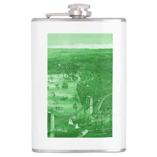1879 Vintage Brooklyn Map Flask in Green