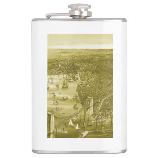 1879 Vintage Brooklyn Map Flask in Yellow