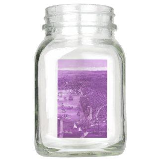 1879 Vintage Brooklyn Map Mason Jar in Purple