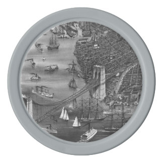 1879 Vintage Brooklyn Map Poker Chips in Gray