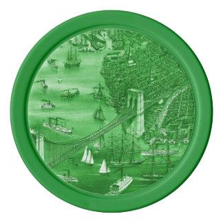 1879 Vintage Brooklyn Map Poker Chips in Green
