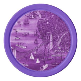 1879 Vintage Brooklyn Map Poker Chips in Purple