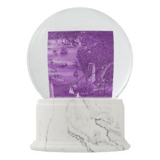 1879 Vintage Brooklyn Map Snow Globe in Purple