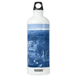 1879 Vintage Brooklyn Map Water Bottle in Blue