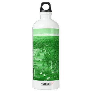 1879 Vintage Brooklyn Map Water Bottle in Green