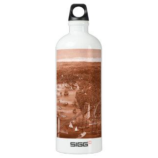 1879 Vintage Brooklyn Map Water Bottle in Orange