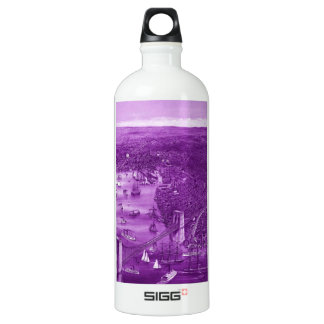 1879 Vintage Brooklyn Map Water Bottle in Purple