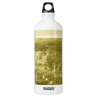 1879 Vintage Brooklyn Map Water Bottle in Yellow