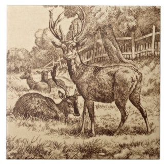 1879 William Wise Animal Series Deer Tile Repro