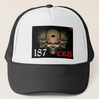 187 cru custom white & black skulls hat