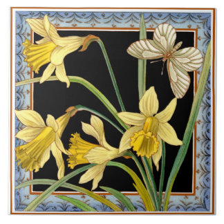1880 Maw & Co Transferware Victorian Daffodil Tile
