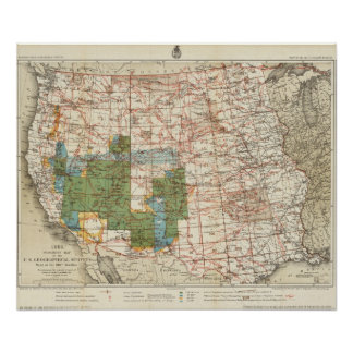 1880 Progress Map of The US Geographical Surveys Poster