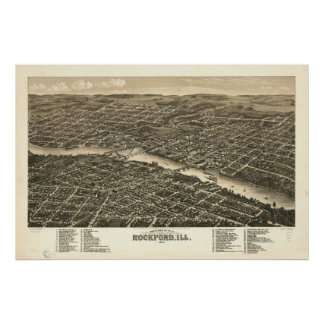 1880 Rockford, IL Birds Eye View Panoramic Map Poster