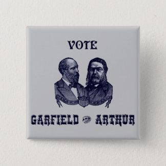 1880 Vote Garfield and Arthur, blue 15 Cm Square Badge