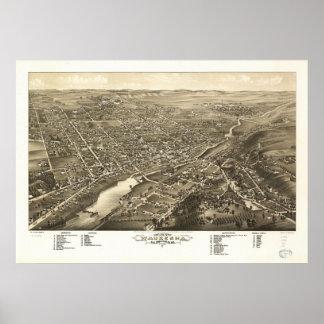 1880 Waukesha, WI Birds Eye View Panoramic Map Poster