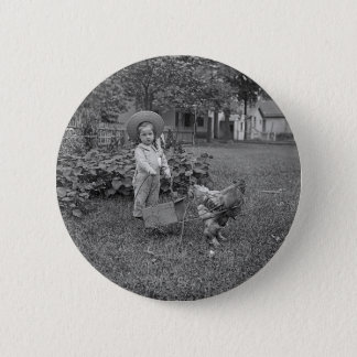 1880's Adorable Girl and Rooster Cart in Garden 6 Cm Round Badge