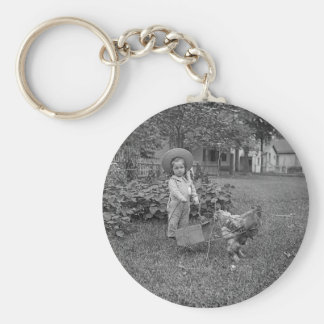 1880's Adorable Girl and Rooster Cart in Garden Basic Round Button Key Ring