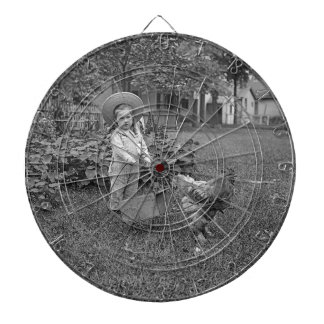 1880's Adorable Girl and Rooster Cart in Garden Dart Boards