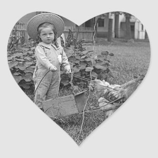 1880's Adorable Girl and Rooster Cart in Garden Heart Sticker