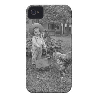 1880's Adorable Girl and Rooster Cart in Garden iPhone 4 Case-Mate Cases