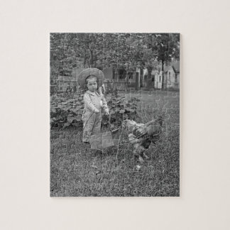 1880's Adorable Girl and Rooster Cart in Garden Jigsaw Puzzle