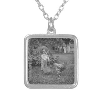 1880's Adorable Girl and Rooster Cart in Garden Silver Plated Necklace