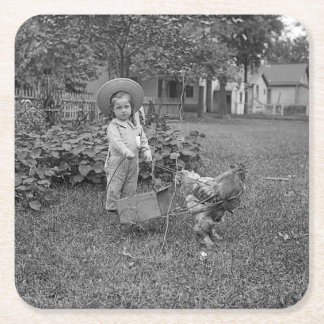 1880's Adorable Girl and Rooster Cart in Garden Square Paper Coaster