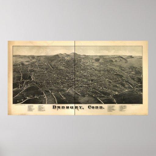 1880's Danbury CT Birds Eye View Panoramic Map Posters