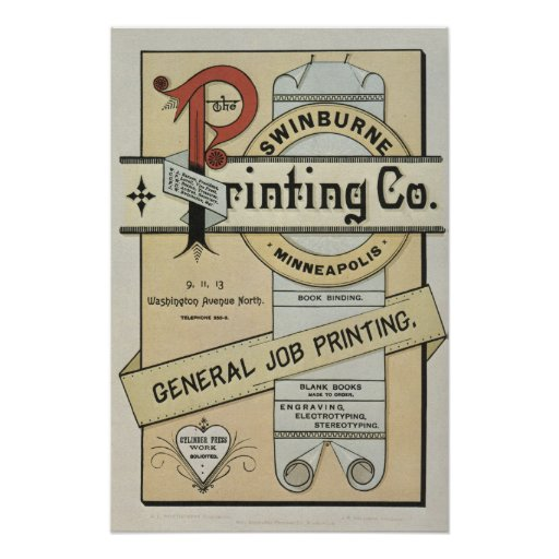 1880's letterpress printing advertisement poster