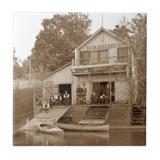 1880's Men Club Fox River Club Fishing Elgin Ceramic Tile