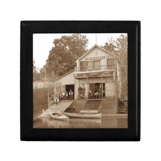 1880's Men Club Fox River Club Fishing Elgin Small Square Gift Box