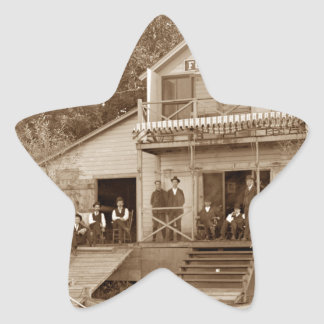 1880's Men Club Fox River Club Fishing Elgin Star Sticker