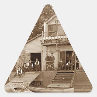 1880's Men Club Fox River Club Fishing Elgin Triangle Sticker