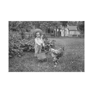 1880's Photograph Girl in Garden Rooster Cart Canvas Print