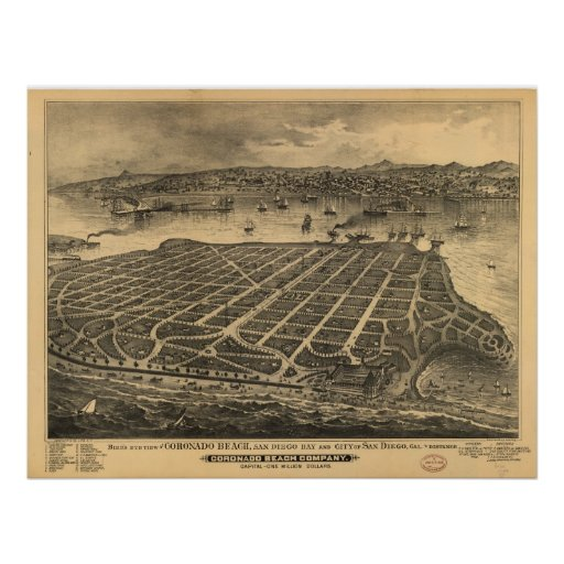 1880's San Diego CA Birds Eye View Panoramic Map Posters
