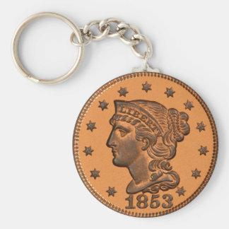 1881 penny basic basic round button key ring