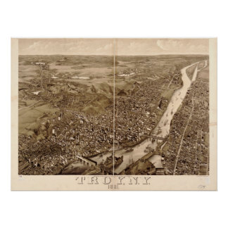 1881 Troy, NY Birds Eye View Panoramic Map Poster